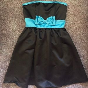 Black dress with baby blue features